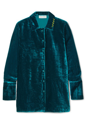 Mira Mikati - Embroidered Velvet Shirt - Teal