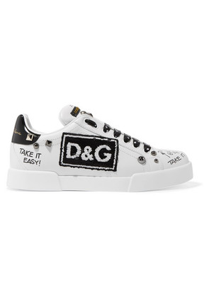 Dolce & Gabbana - Logo-embellished Printed Leather Sneakers - White