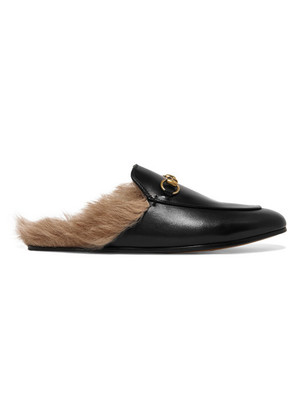 Gucci - Princetown Horsebit-detailed Shearling-lined Leather Slippers - Black