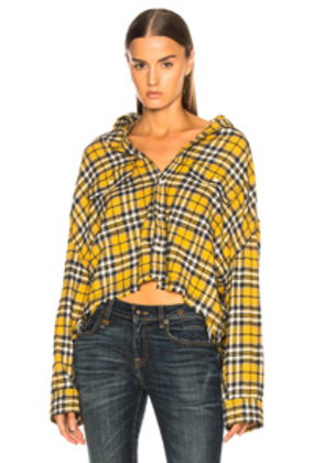 R13 Cropped Work Shirt in Plaid,Yellow