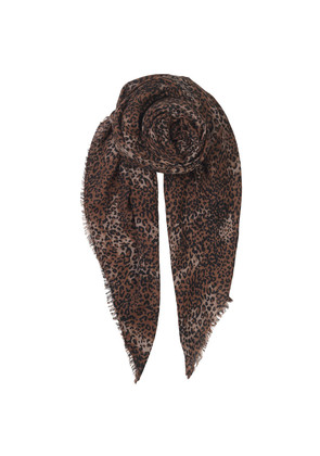 Kofi Wool Mix Leopard Scarf - Soft Beige