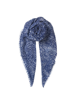 Kofi Wool Mix Leopard Scarf - Dusty Blue
