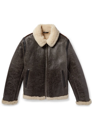 Shearling-lined Textured-leather Jacket