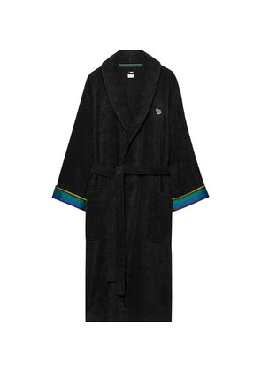 Stripe-trimmed Cotton-terry Robe