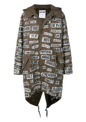 Moschino safety pin hooded parka - Green