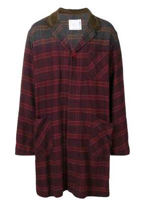 Sacai checked single breasted coat - Red