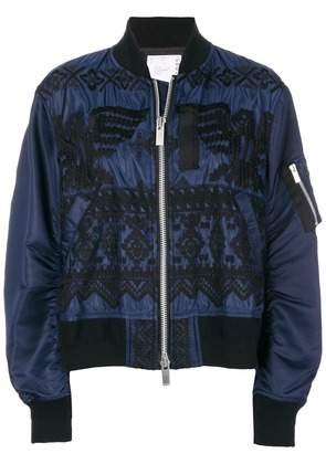 Sacai embroidered bomber jacket - Blue