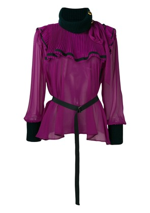Sacai flared frilled blouse - Pink & Purple