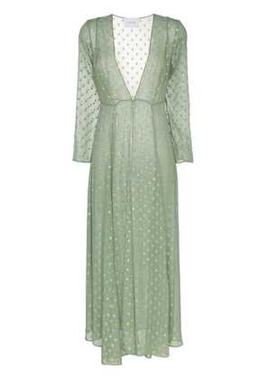 We Are Leone Sunbeam embroidered silk maxi cardigan - Green
