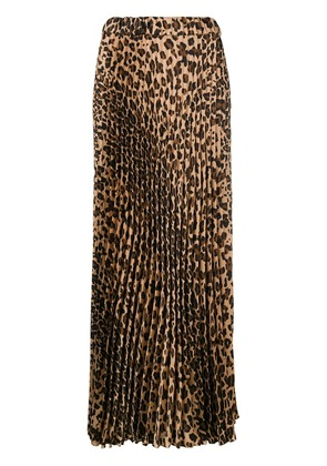 P.A.R.O.S.H. pleated leopard print skirt - Brown