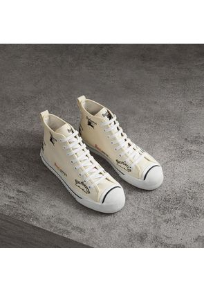 Burberry Archive Logo Cotton High-top Sneakers, White