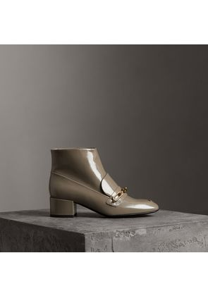 Burberry Link Detail Patent Leather Ankle Boots, Grey
