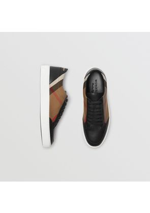 Burberry Check Detail Leather Sneakers, Black