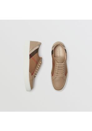 Burberry Check Detail Leather Sneakers, White
