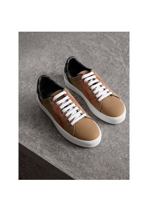 Burberry House Check and Leather Sneakers, Brown