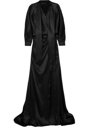 Alexandre Vauthier - Pussy-bow Stretch-silk Satin Gown - Black