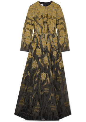 Valentino - Metallic Embroidered Wool-blend And Tulle Gown - Black