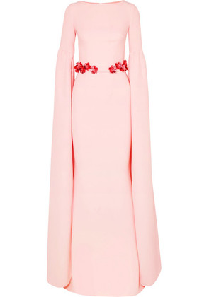 Safiyaa - Octavia Belted Stretch-crepe Gown - Pastel pink