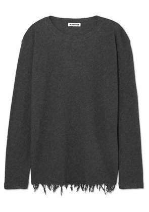 Jil Sander - Frayed Wool And Cashmere-blend Sweater - Gray