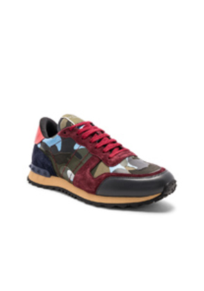 Valentino Camouflage Rockrunner Trainers in Red,Abstract,Blue,Green