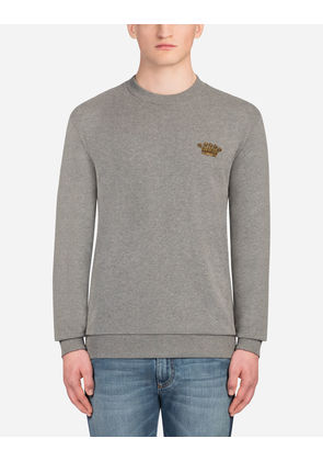Dolce & Gabbana Sweaters - COTTON SWEATSHIRT WITH PATCH GRAY
