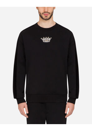 Dolce & Gabbana Sweaters - COTTON SWEATSHIRT WITH PATCH BLACK