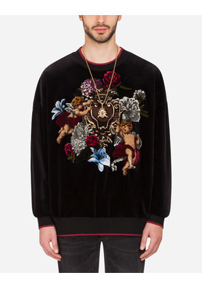 Dolce & Gabbana Sweaters - VELVET SWEATSHIRT WITH PATCH BLACK