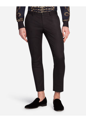 Dolce & Gabbana Trousers - TROUSERS IN COTTON WITH TUXEDO DETAILS BLACK
