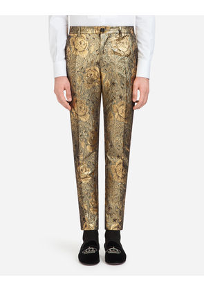 Dolce Gabbana Trousers Pants In Cotton Jacquard Red Milanstyle Com