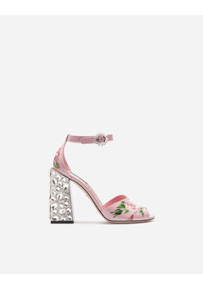 Dolce & Gabbana Sandals and Wedges - PRINTED PATENT LEATHER SANDALS WITH EMBROIDERED HEEL PINK