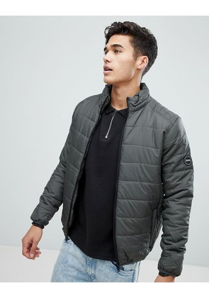 Brave Soul Padded Zip Through Jacket - Grey
