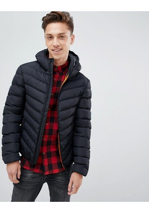 Brave Soul Hooded Quilted Padded Jacket - Black