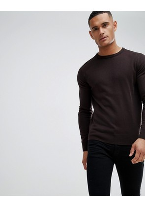Brave Soul Crew Neck Jumper - Grape