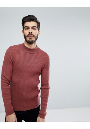 Brave Soul Rib Turtle Neck Jumper - Red