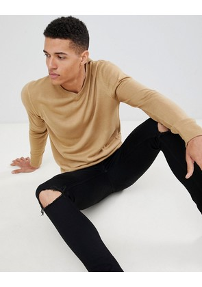 Brave Soul V Neck Jumper - Tan