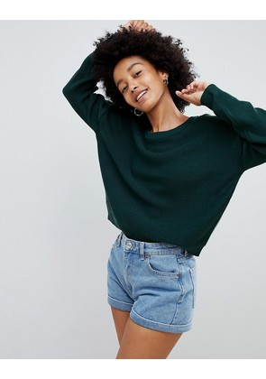 Brave Soul Grunge Round Neck Jumper - Forest green