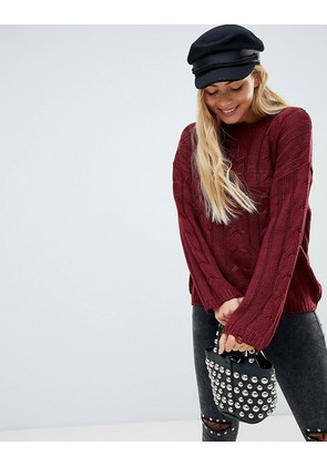Brave Soul Bangla Cable Knit Jumper with Distressing Detail - Berry red