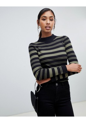 Brave Soul knitted jumper with funnel collar - Black with khaki