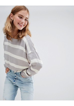 Brave Soul Grunge Round Neck Jumper in Stripe - Grey/cream stripe