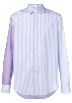 Loewe patchwork sleeve stripe shirt - Blue