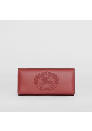 Burberry Embossed Crest Two-tone Leather Continental Wallet, Red