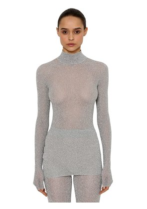LUREX RIB KNIT TURTLENECK SWEATER
