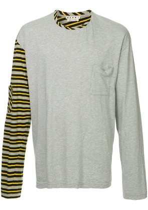 Marni striped sleeve jumper - Grey