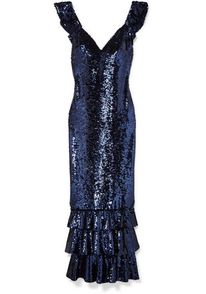 Monique Lhuillier - Tiered Sequined Mesh Gown - Navy
