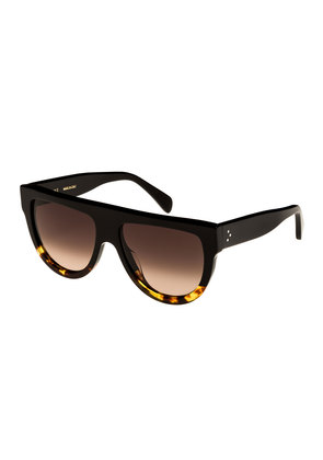 Flattop Two-Tone Shield Adjusted-Fit Sunglasses, Black Pattern
