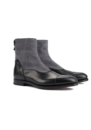 Barbanera Black and Grey Ruskin Leather and Canvas Boots