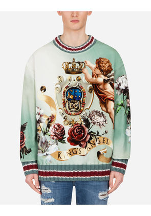 Dolce & Gabbana Sweaters - PRINTED COTTON VELVET SWEATSHIRT MULTI-COLORED