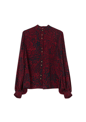 Maddox Textured Silk Shirt -Burgundy Leopard
