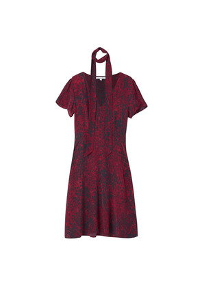 Lea Textured Silk Dress - Burgundy Leopard