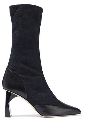 Tibi Woman Felice Leather-paneled Suede Boots Navy Size 38